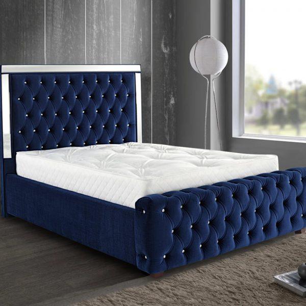 Elegance Mirrored Bed Double Plush Velvet Blue - Double