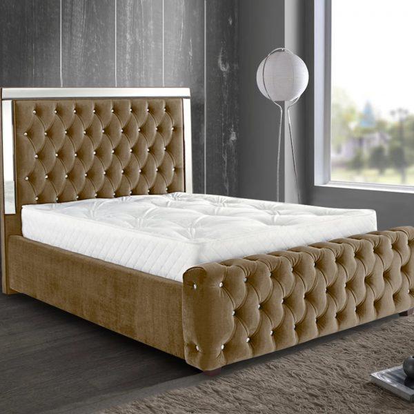 Elegance Mirrored Bed King Plush Velvet Mink - King Size
