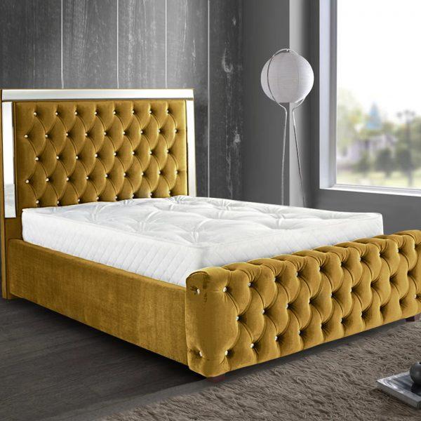 Elegance Mirrored Bed King Plush Velvet Mustard - King Size