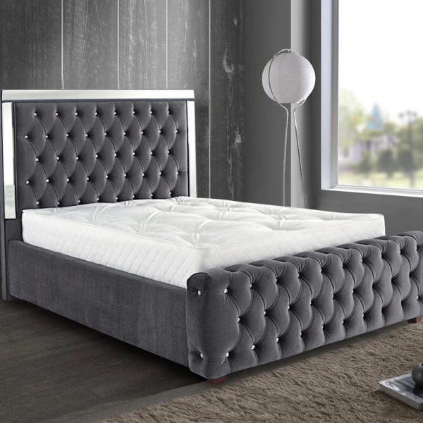 Elegance Mirrored Bed King Plush Velvet Steel - King Size