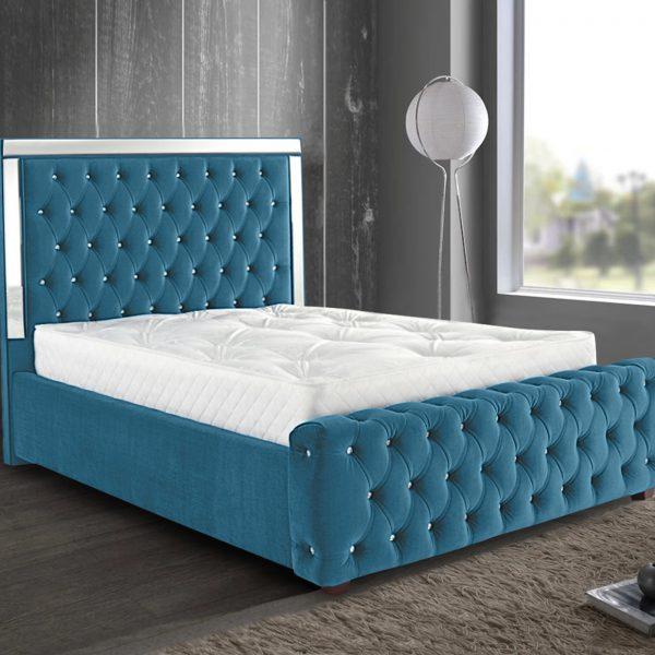 Elegance Mirrored Bed King Plush Velvet Teal - King Size