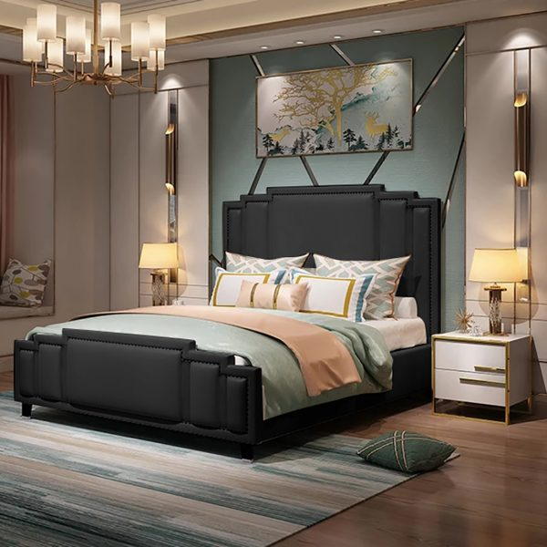 Elixa Bed Small Double Plush Velvet Black - Small Double