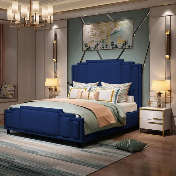 Elixa Bed Double Plush Velvet Blue - Double