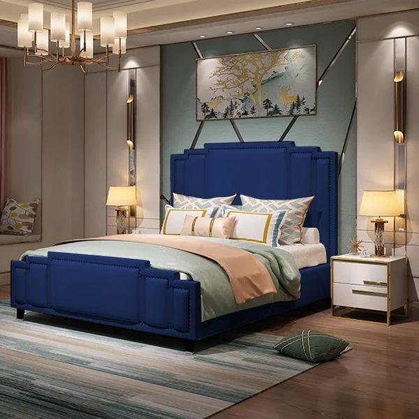 Elixa Bed Super King Plush Velvet Blue - Super King