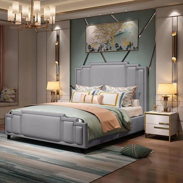 Elixa Bed Double Plush Velvet Grey - Double