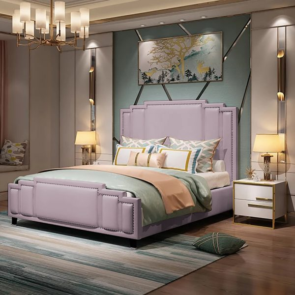 Elixa Bed Double Plush Velvet Pink - Double
