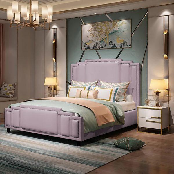 Elixa Bed King Plush Velvet Pink - King Size