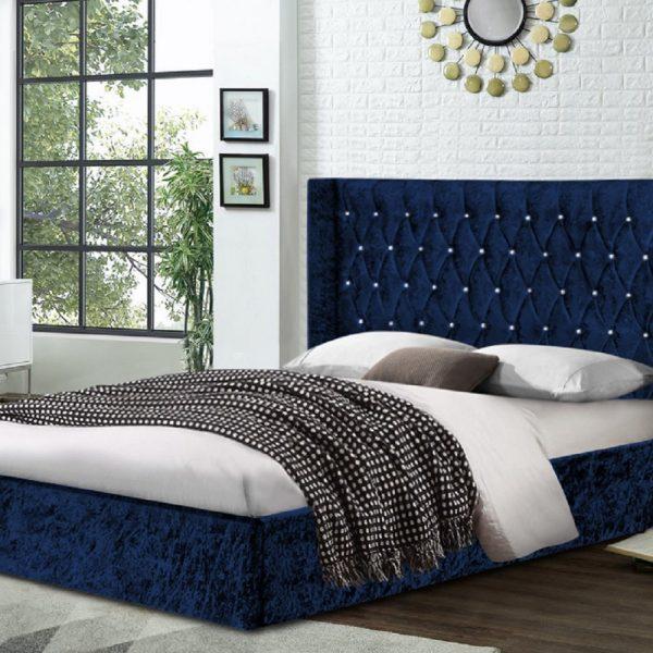Eniya Bed Double Crush Velvet Blue - Double