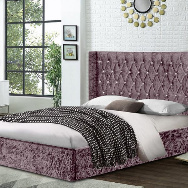 Eniya Bed King Crush Velvet Pink - King Size