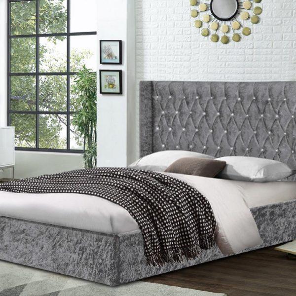 Eniya Bed King Crush Velvet Grey - King Size