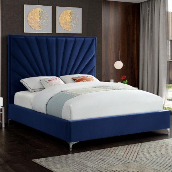 Errence Bed King Plush Velvet Blue - King Size