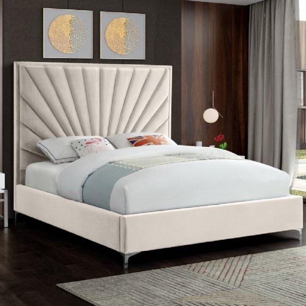 Errence Bed King Plush Velvet Cream - King Size