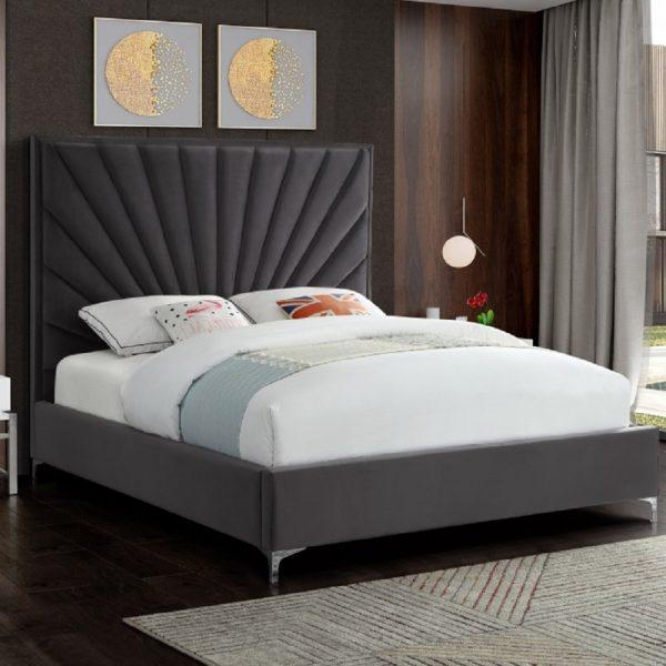 Errence Bed Double Plush Velvet Steel - Double