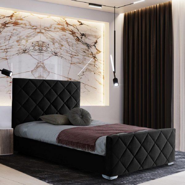 Esana Bed Single Plush Velvet Black - Single
