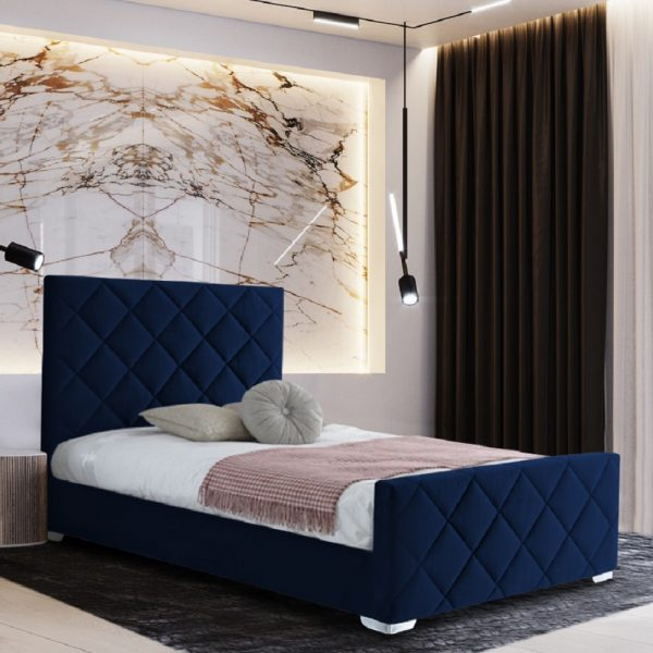 Esana Bed Small Double Plush Velvet Blue - Small Double