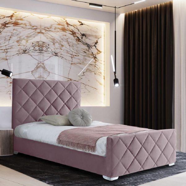 Esana Bed Single Plush Velvet Pink - Single