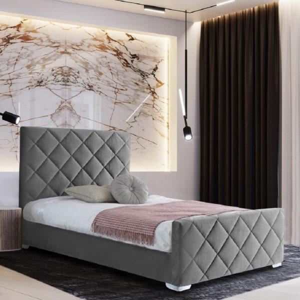 Esana Bed Single Plush Velvet Grey - Single