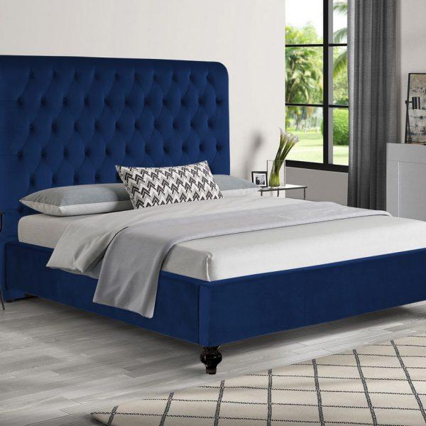 Fiona Bed King Plush Velvet Blue - King Size