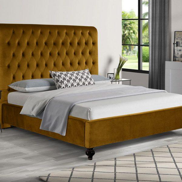 Fiona Bed King Plush Velvet Mustard - King Size