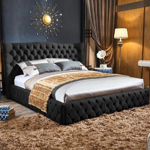Gerald Bed Single Plush Velvet Black - Single