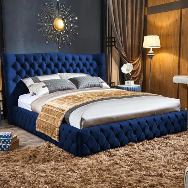 Gerald Bed King Plush Velvet Blue - King Size