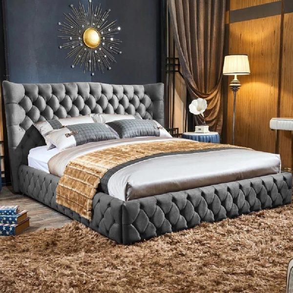 Gerald Bed Single Plush Velvet Grey - Single