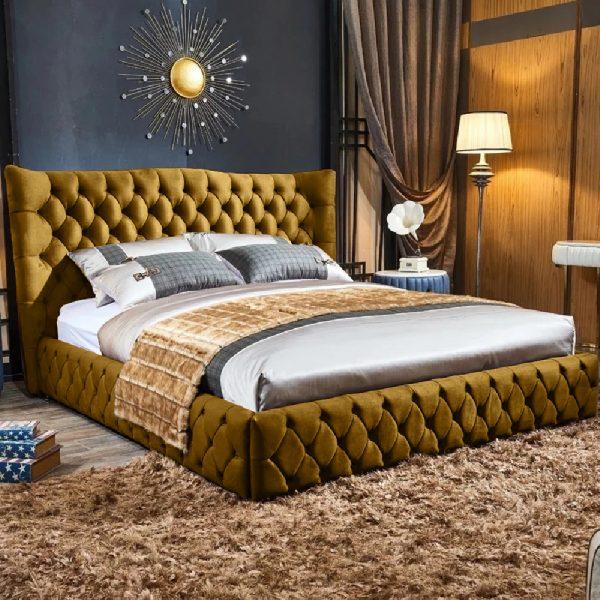 Gerald Bed Single Plush Velvet Mustard - Single