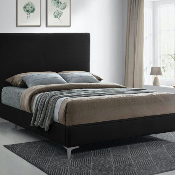 Glinis Bed Double Plush Velvet Black - Double
