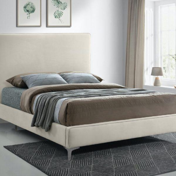Glinis Bed King Plush Velvet Cream - King Size
