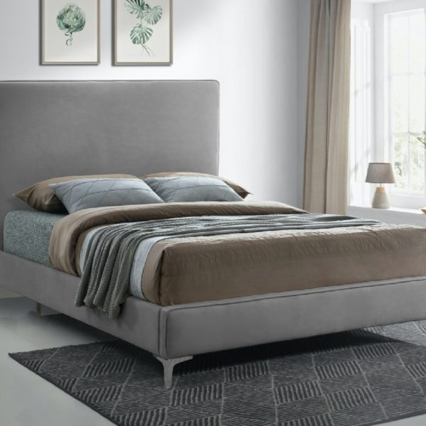 Glinis Bed Small Double Plush Velvet Steel - Small Double