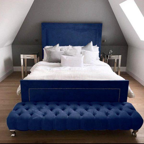 Harlow Bed Double Plush Velvet Blue - Double