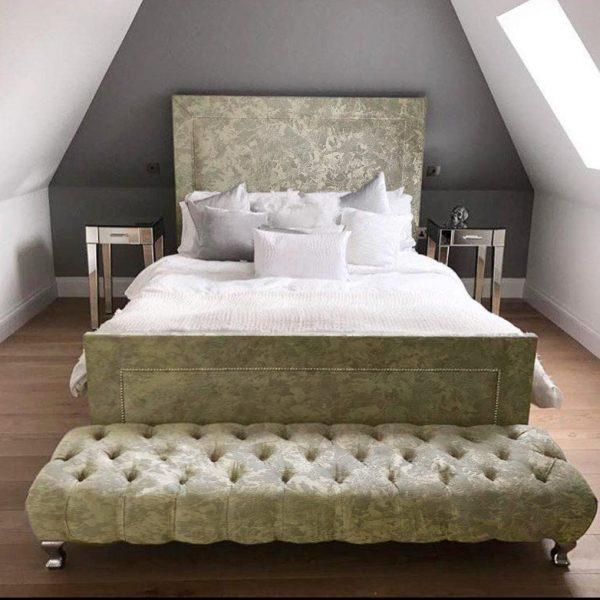 Harlow Bed King Plush Velvet Cream - King Size
