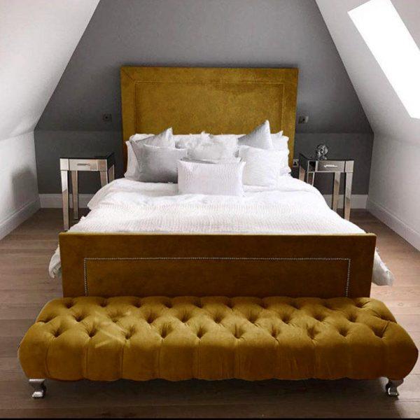 Harlow Bed King Plush Velvet Mustard - King Size