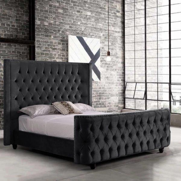 Harmony Bed Single Plush Velvet Black - Single