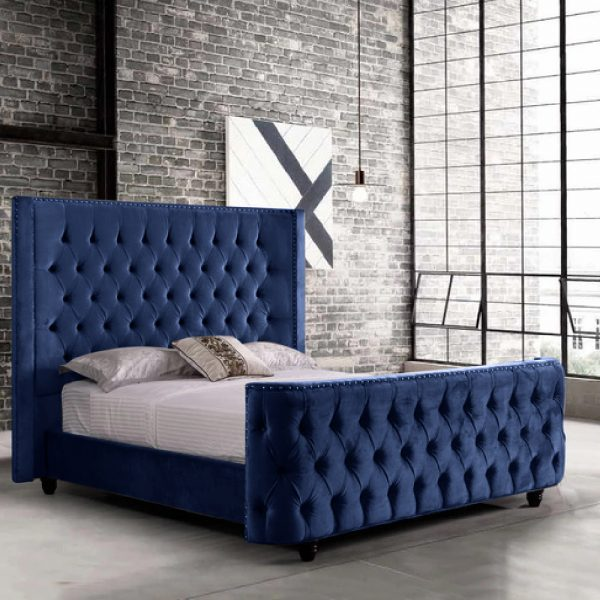 Harmony Bed Single Plush Velvet Blue - Single