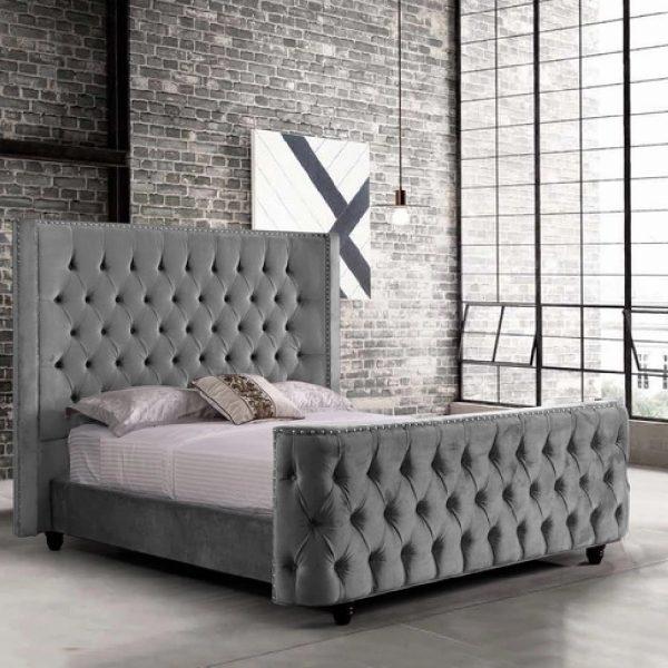Harmony Bed Double Plush Velvet Grey - Double