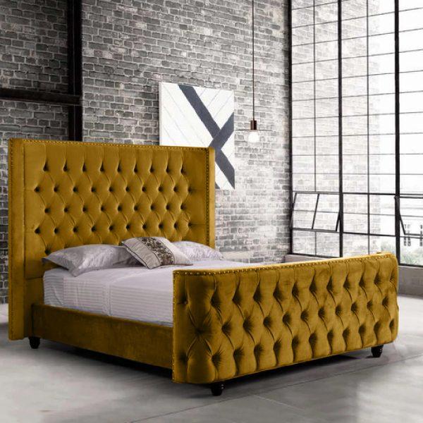 Harmony Bed King Plush Velvet Mustard - King Size