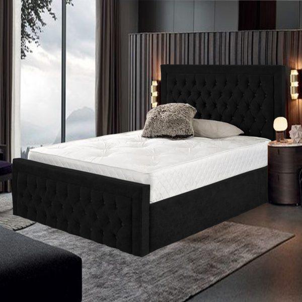 3FT Harvard Bed Single Plush Velvet Black - Single