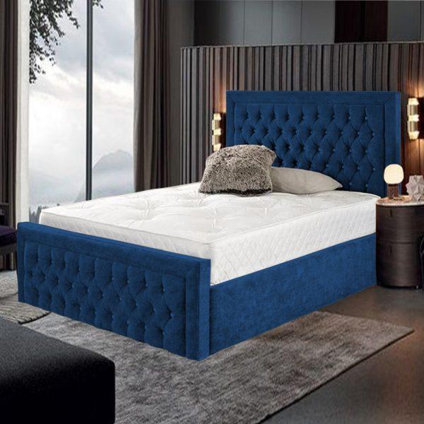 Harvard Bed Super King Plush Velvet Blue - Super King