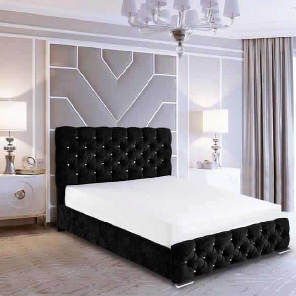 Havana Bed Small Double Crush Velvet Black - Small Double