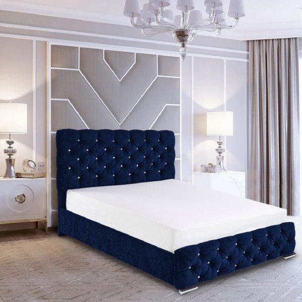 Havana Bed Super King Crush Velvet Blue - Super King