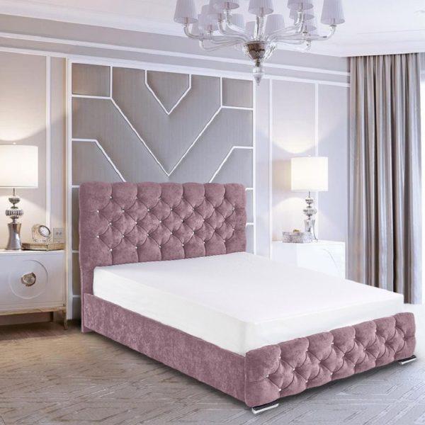 Havana Bed Super King Crush Velvet Pink - Super King