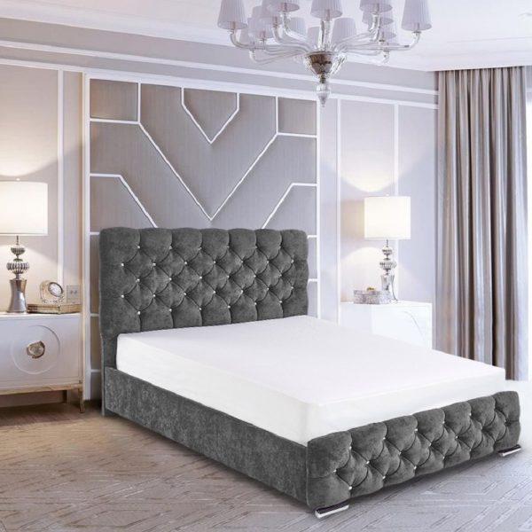 Havana Bed Double Crush Velvet Grey - Double