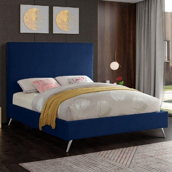 Jelson Bed Single Plush Velvet Blue - Single