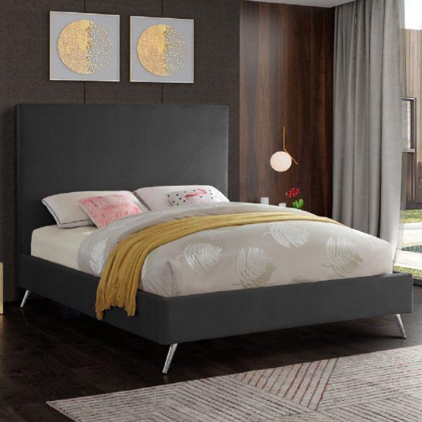 Jelson Bed Single Plush Velvet Steel - Single