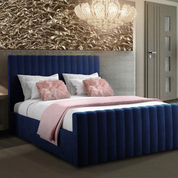 Keesa Bed King Plush Velvet Blue - King Size
