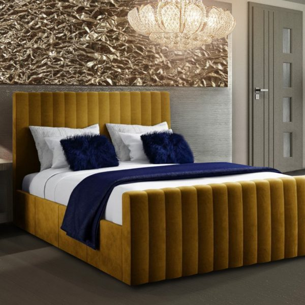 Keesa Bed Super King Plush Velvet Mustard - Super King