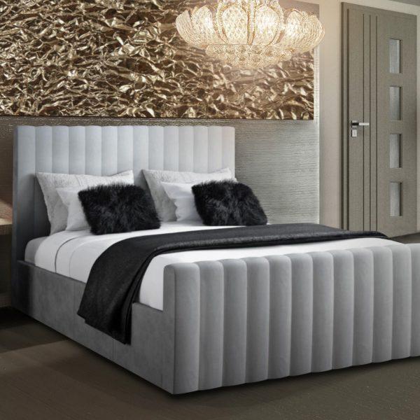 Keesa Bed Double Plush Velvet Silver - Double