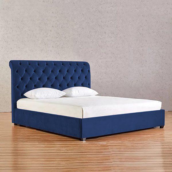 Kelist Bed King Plush Velvet Blue - King Size