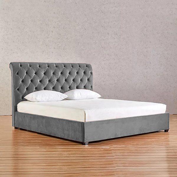Kelist Bed King Plush Velvet Grey - King Size